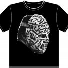 """Large Black Gerry Cheevers """"Stitches Mask"""" T-shirt"""