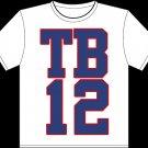 "Medium White Tom Brady ""TB12"" T-shirt"
