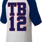 """Medium White Tom Brady """"TB12"""" Raglan T-shirt"""