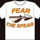 "Medium White ""Fear The Spear"" Agawam High School Football T-shirt"