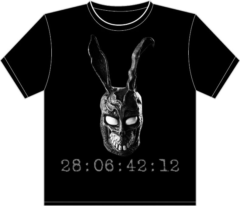 "Small - Black - Donnie Darko ""Frank the Bunny - 28:06:42:12"" T-shirt"