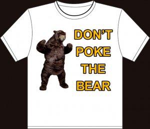 Medium white don 39 t poke the bear boston bruins t shirt for Boston bruins bear t shirt