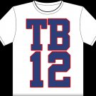 "Medium - White - ""TB12"" Tom brady T-shirt New England Patriots"