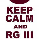 "Medium - White - ""KEEP CALM AND RG III ON"" Robert Griffin 3 T-shirt Washington Redskins"