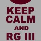 "XXXL - Ash Gray - ""KEEP CALM AND RG III ON"" Robert Griffin 3 T-shirt Washington Redskins"