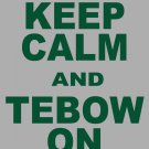 "Medium - Ash Gray - ""KEEP CALM AND TEBOW ON"" Tim Tebow T-shirt New York Jets"