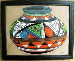 Collector's Leather Vase Painting of cultural period art #129