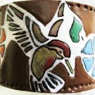 Leather Humming Bird Bracelet Hand Made Item 138