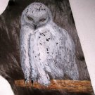 "Collector's Leather Painting Of A Snow Owl 17"" X 7 1/2"" Item 152"