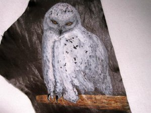 """Collector's Leather Painting Of A Snow Owl 17"""" X 7 1/2"""" Item 152"""
