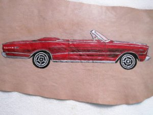 Collector's Leather Painting 1966 Galaxie 500 7 Litre Item 154