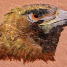 Collector's Leather Painting Of A Falcon Spirit Ring Item 169