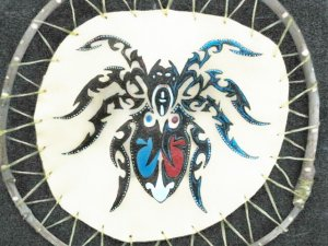Collector's Leather Painting Of Polynesian Trible Spider Item 174