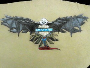 Collector's Leather Painting Of Hellbat Item 179
