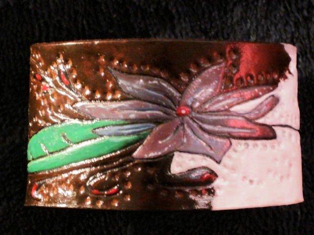 Lavender Floral Leather Bracelet Hand Carved Item 143