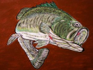 Collector's  Leather Painting Of Trophy Black Bass Item 157