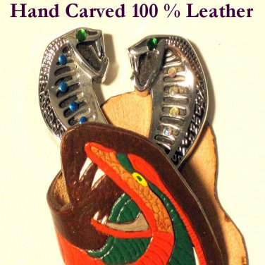 Cobra Leather Emblem Hand Carved Item # 221