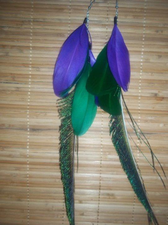 Mardi Grai peacock feather earrings