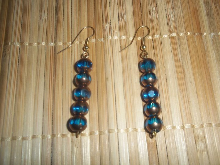 Teal/Gold round dangles
