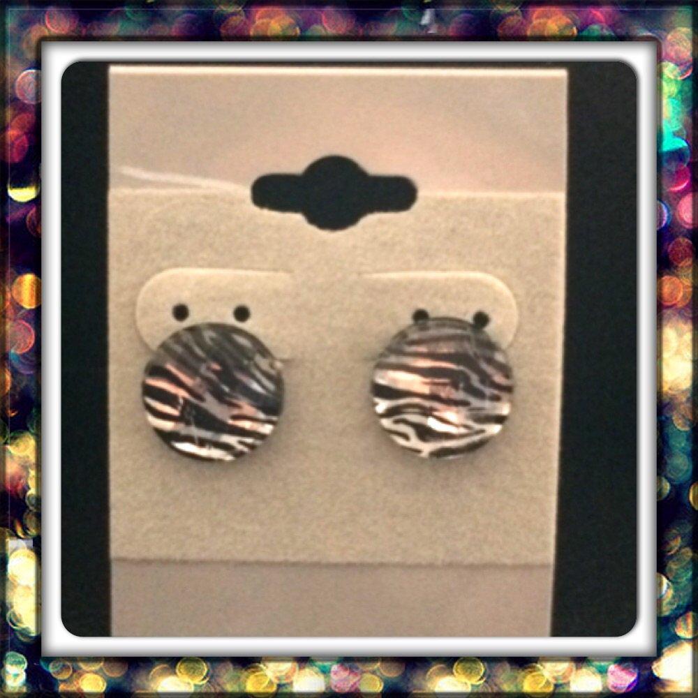 Handmade Zebra Studs