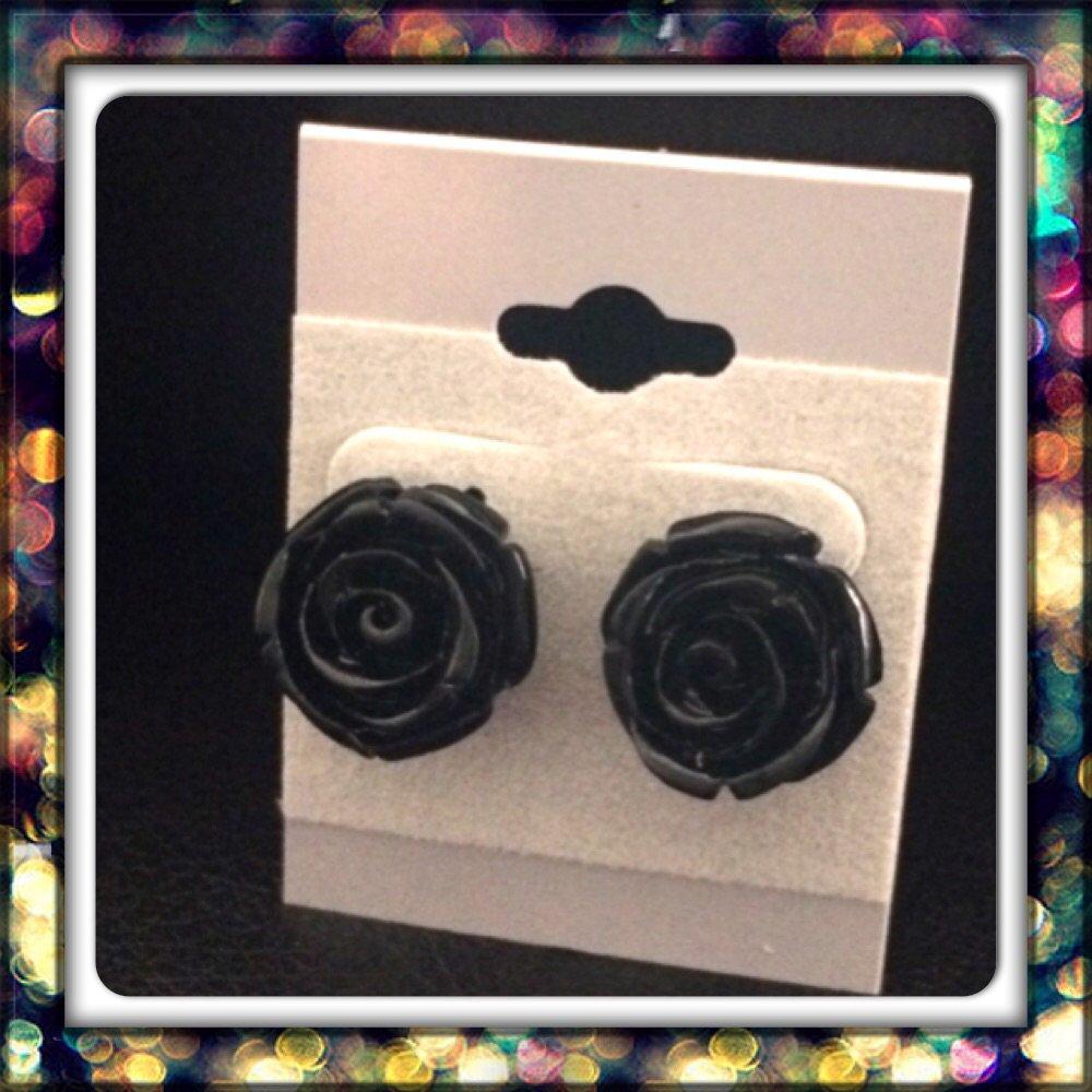 Handmade Black Rose Studs