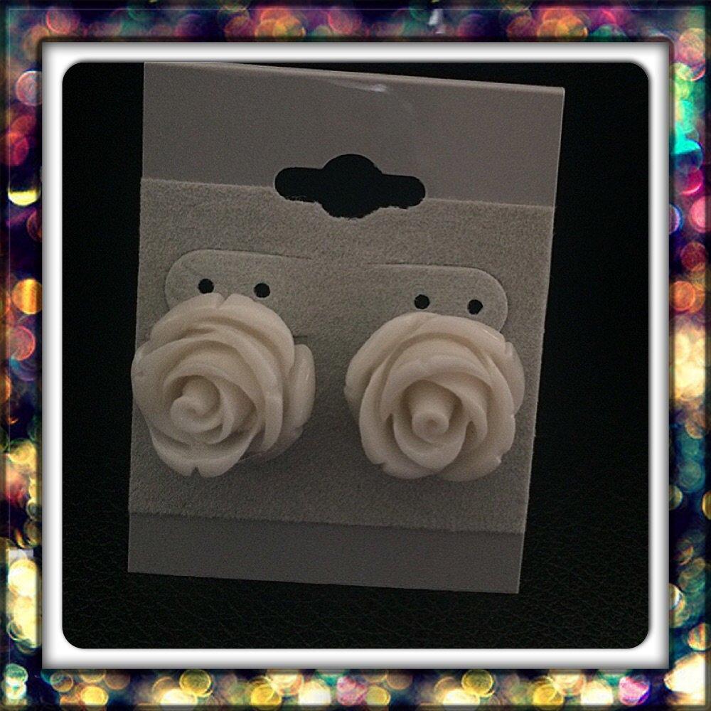 Handmade White Rose Studs
