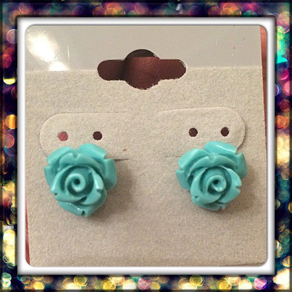 Handmade Teal Mini Rose Studs