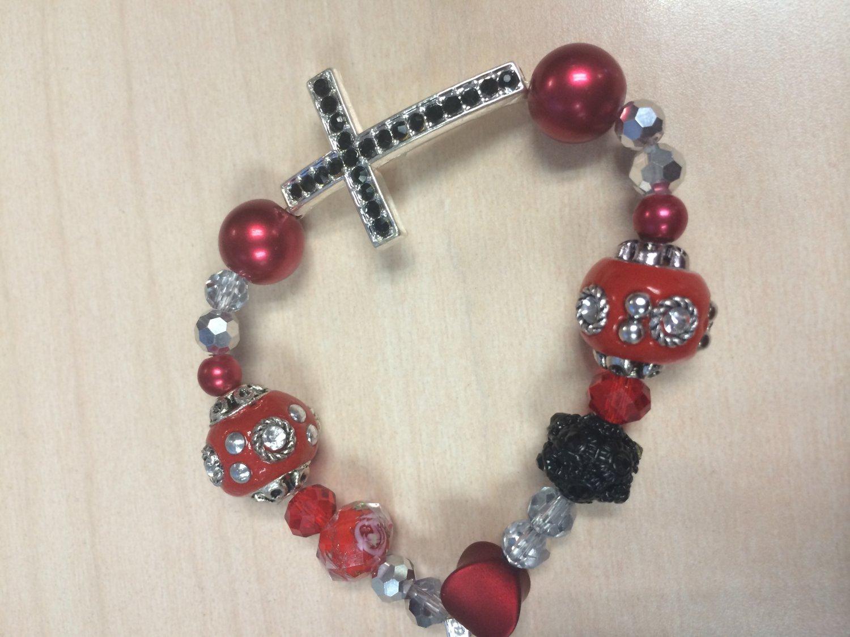 Handmade Red Cross bracelet