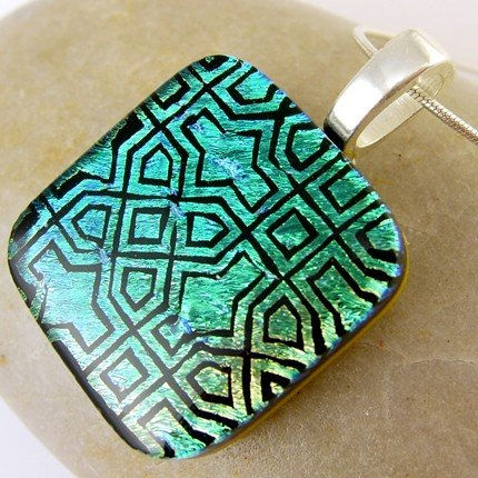 Green Persia Dichroic Fused Glass Pendant