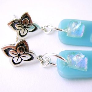 Abstract Blue Fused Glass Thai Silver Dangle Earrings