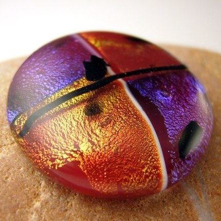 Purple and Burnt Orange Fused Glass Dichroic Cabochon