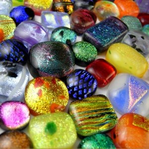 Cab Grab Bag - Surprise Lot of Five (5) Dichroic Fused Glass Cabochons