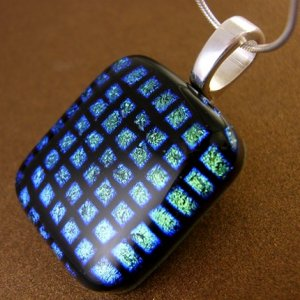 Blue-Green Squares Dichroic Fused Glass Pendant