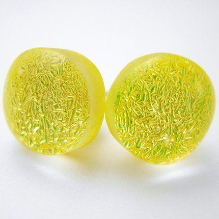 Yellow Dichroic Glass Earrings with Sterling Posts