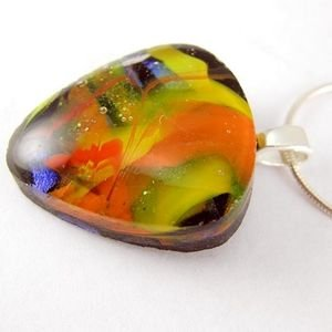 Dichroic Drop Fused Glass Pendant - Autumn Swirls