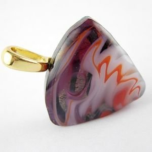 Dichroic Drop Pendant with Gold Bail