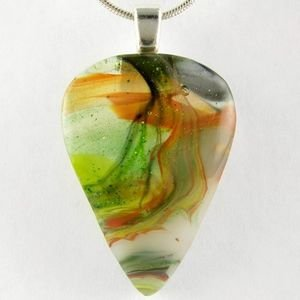 Autumn Swirl Fused Glass Drop Pendant