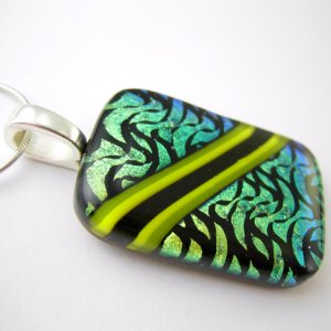 Jetstream Green Fused Glass Dichroic Pendant