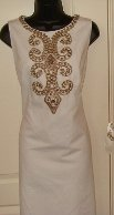 ELLEN TRACY WOMENS ANTIQUE BEIGE DAY DRESS WITH BRASS DESIGN BEADING