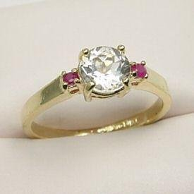 Elegant 1.50ct Genuine White Topaz & Ruby Ring