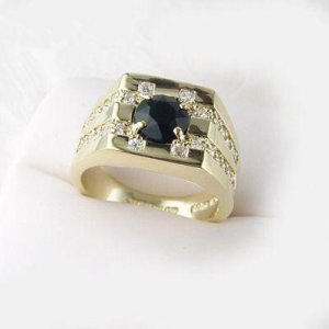 14kt Mens Genuine Black Onxy Ring