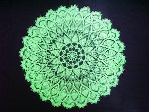 Handmade crocheted doily green