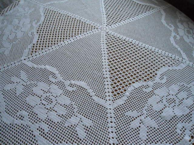 Hand crochet tablecloth 105 cm. in diameter White