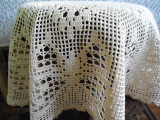 New handcrocheted tablecloth with butterflies