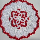 Red and white crochet doily , lace doily , christmas doily