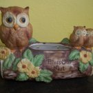 Lorrie Designs Ceramic &quot;Bless our Nest&quot; Owls on a Log Planter