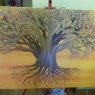 """Tree on Orange"", Oil on Canvas Painting"