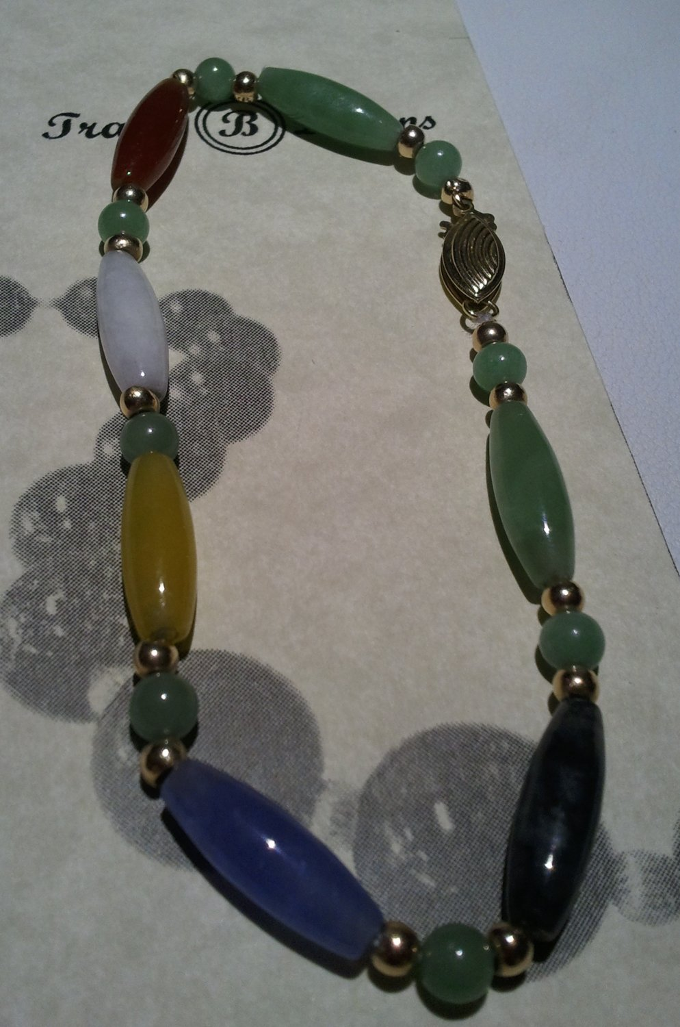 Multi Colored Jade Bracelet w/ 14K Clasp