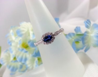 Ladies Ring Saphire Diamond Halo Style Birthstone For September