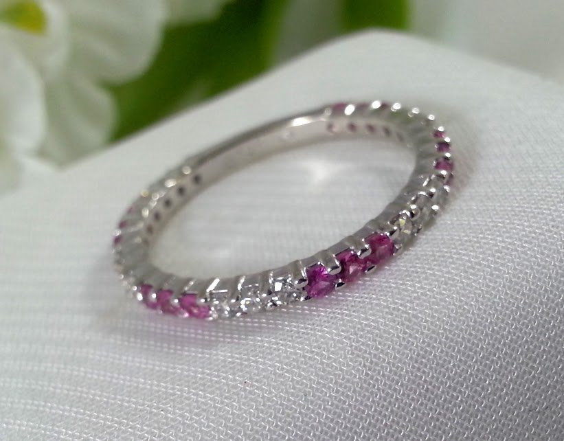 Ladies Anniversary Band Eternity Ring Pink October Birthstone Pink Sapphire and Diamond